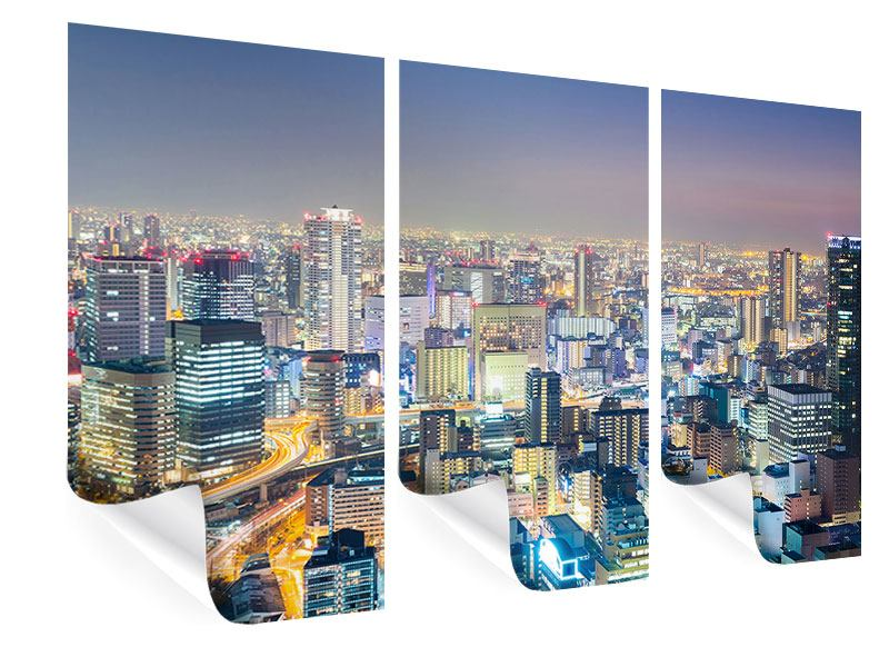 Poster 3-teilig Skyline Osaka bei Sonnenuntergang