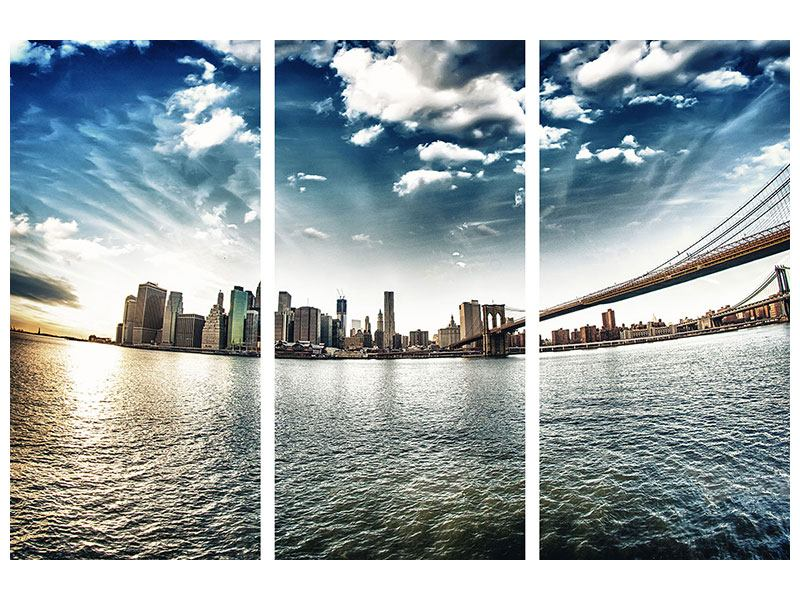 Poster 3-teilig Brooklyn Bridge From The Other Side