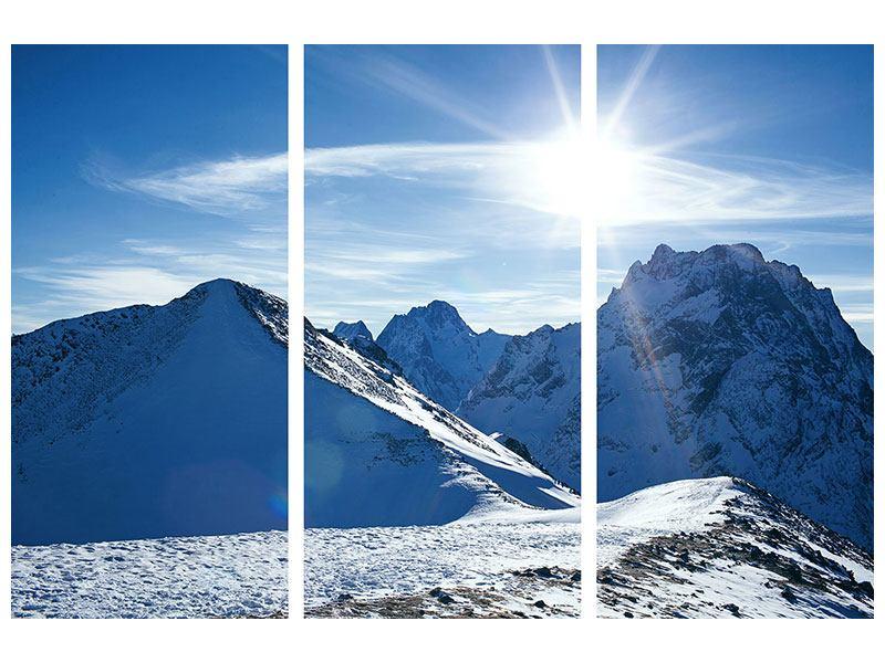 Poster 3-teilig Der Berg im Schnee