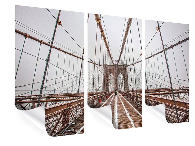Poster 3-teilig Auf der Brooklyn Bridge
