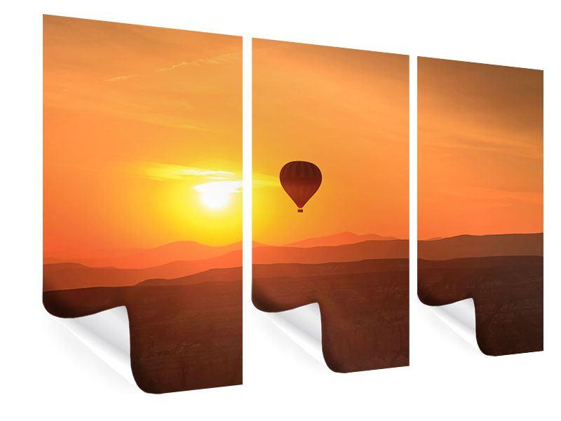 Poster 3-teilig Heissluftballon bei Sonnenuntergang