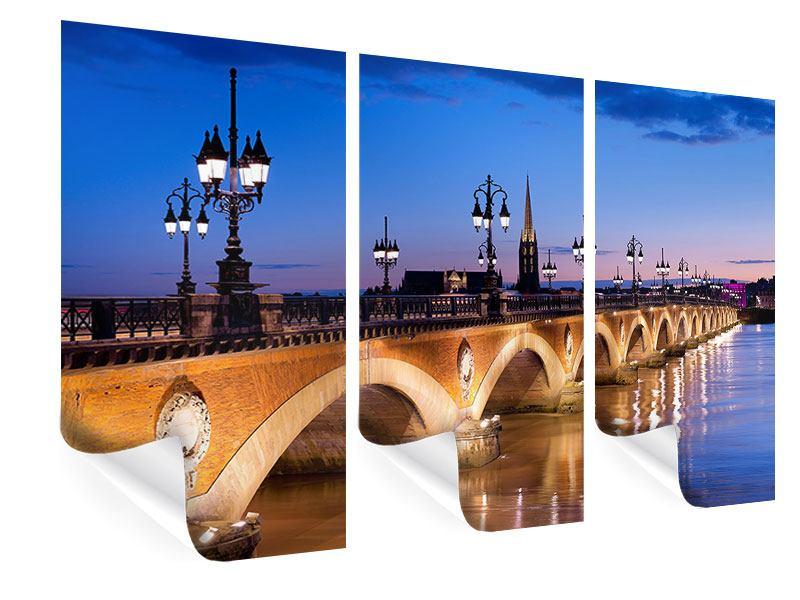 Poster 3-teilig Pont De Pierre bei Sonnenuntergang