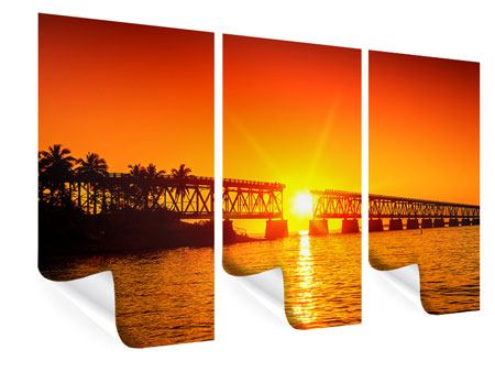 Poster 3-teilig Sonnenuntergang an der Brücke