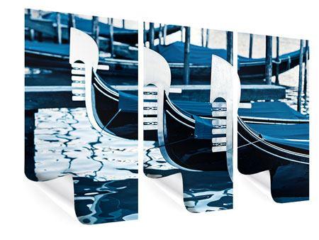 Poster 3-teilig Gondeln in Venedig