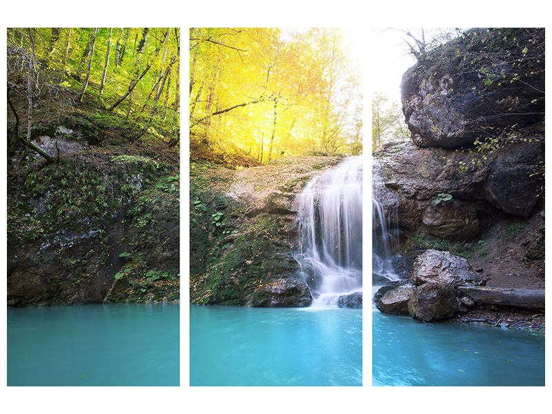 Poster 3-teilig Fliessender Wasserfall