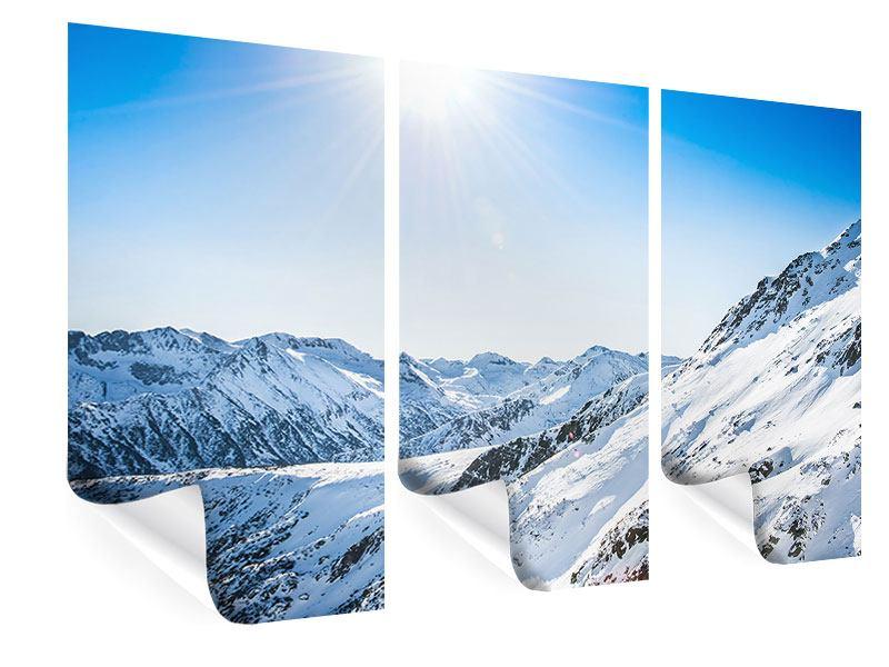 Poster 3-teilig Bergpanorama im Schnee
