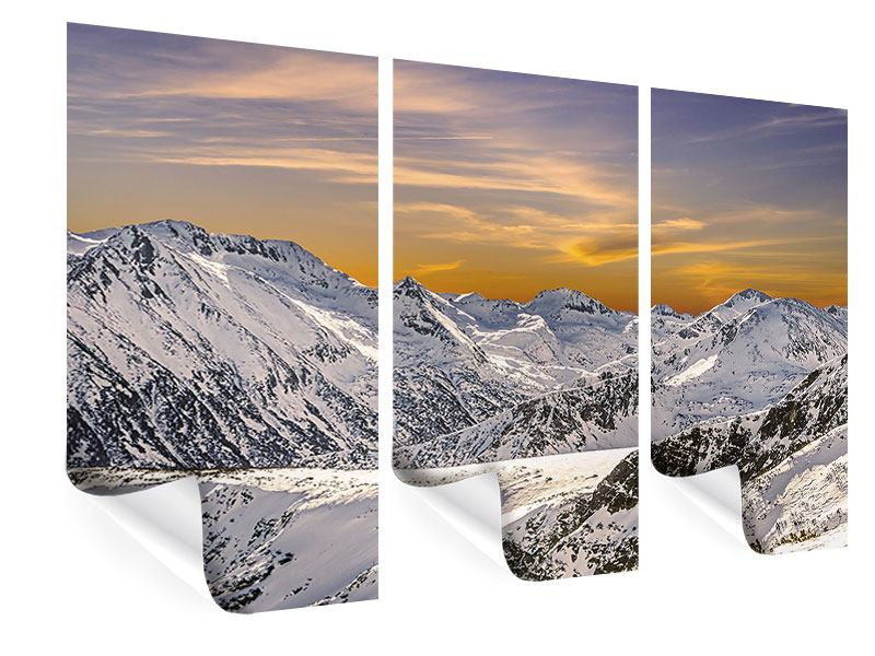 Poster 3-teilig Sonnenuntergang in den Bergen