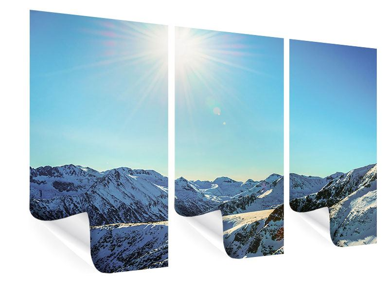 Poster 3-teilig Sonnige Berggipfel im Schnee