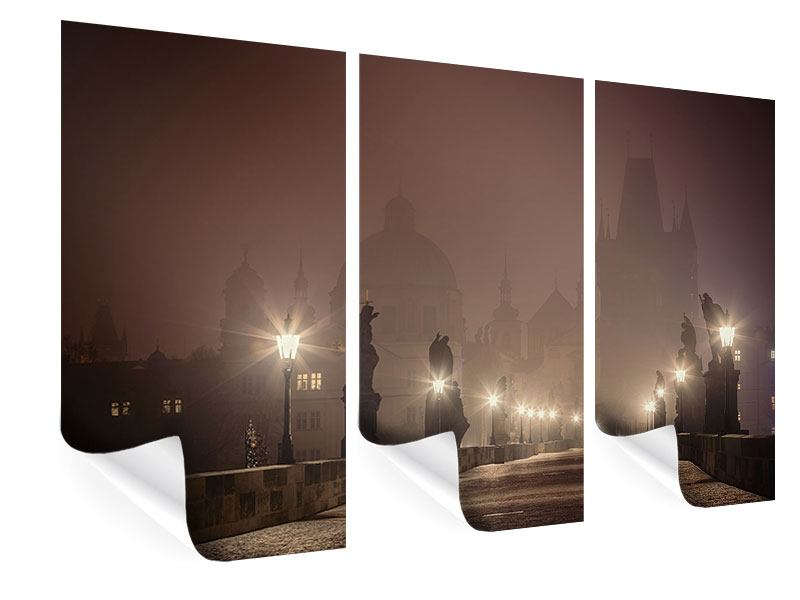 Poster 3-teilig Die Karlsbrücke bei Nacht