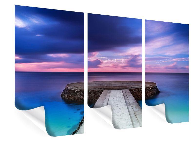 Poster 3-teilig Meditation am Meer