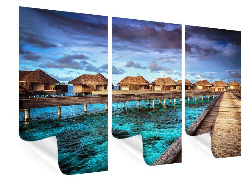 Poster 3-teilig Traumhaus im Wasser