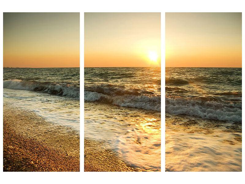 Poster 3-teilig Sonnenuntergang am Meer