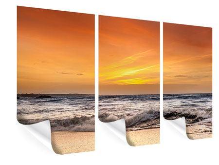Poster 3-teilig See mit Sonnenuntergang