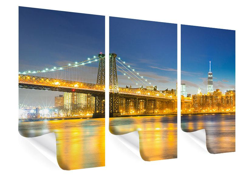 Poster 3-teilig Brooklyn Bridge bei Nacht