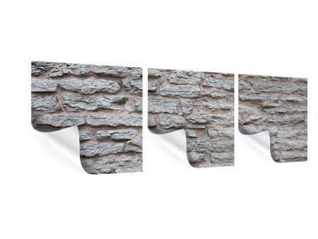 Panorama Poster 3-teilig Steinmauer