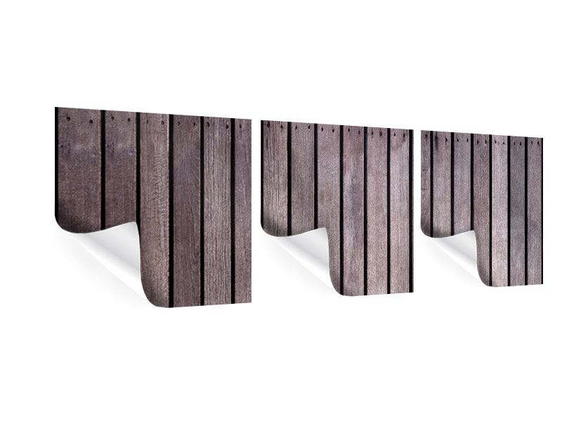 Panorama Poster 3-teilig Holzwand