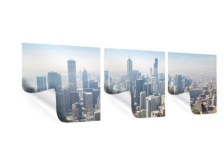 Panorama Poster 3-teilig Wolkenkratzer Chicago