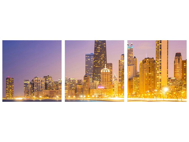 Panorama Poster 3-teilig Skyline Chicago in der Nacht