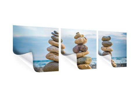 Panorama Poster 3-teilig Drei Steinstapel