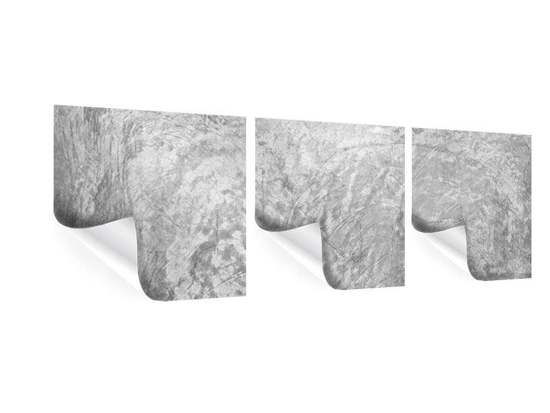 Panorama Poster 3-teilig Wischtechnik in Grau