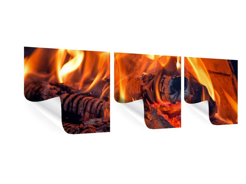 Panorama Poster 3-teilig Lagerfeuer