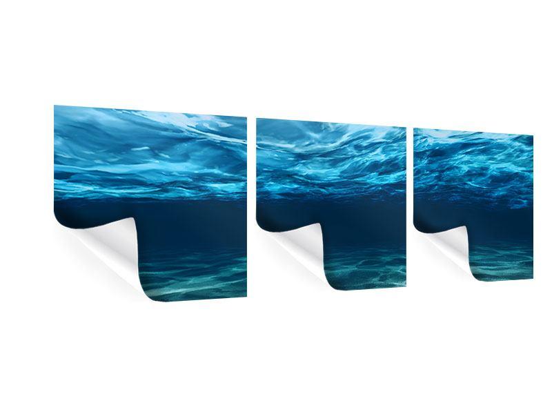 Panorama Poster 3-teilig Lichtspiegelungen unter Wasser