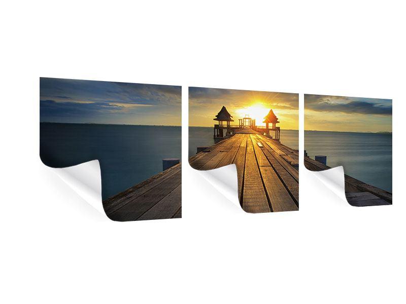 Panorama Poster 3-teilig Der Sonnenuntergang bei der Holzbrücke