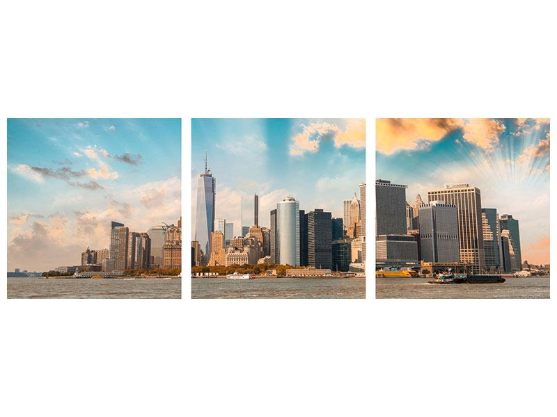 Panorama Poster 3-teilig Skyline New York from the other Side