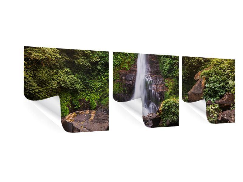 Panorama Poster 3-teilig Wasserfall Bali