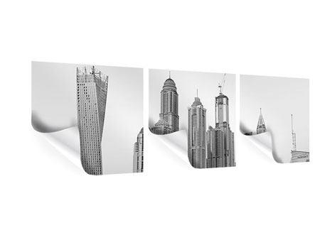 Panorama Poster 3-teilig Majestätische Wolkenkratzer in Dubai