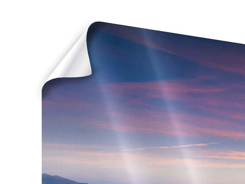 Panorama Poster 3-teilig Sonnenuntergang in den Alpen