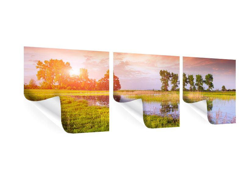 Panorama Poster 3-teilig Sonnenuntergang am See