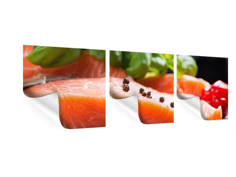 Panorama Poster 3-teilig Frischer Fisch