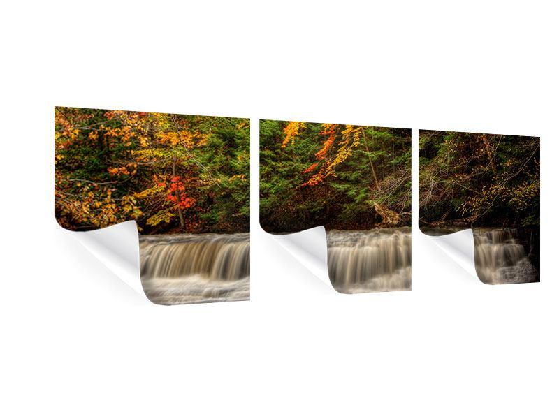 Panorama Poster 3-teilig Herbst beim Wasserfall