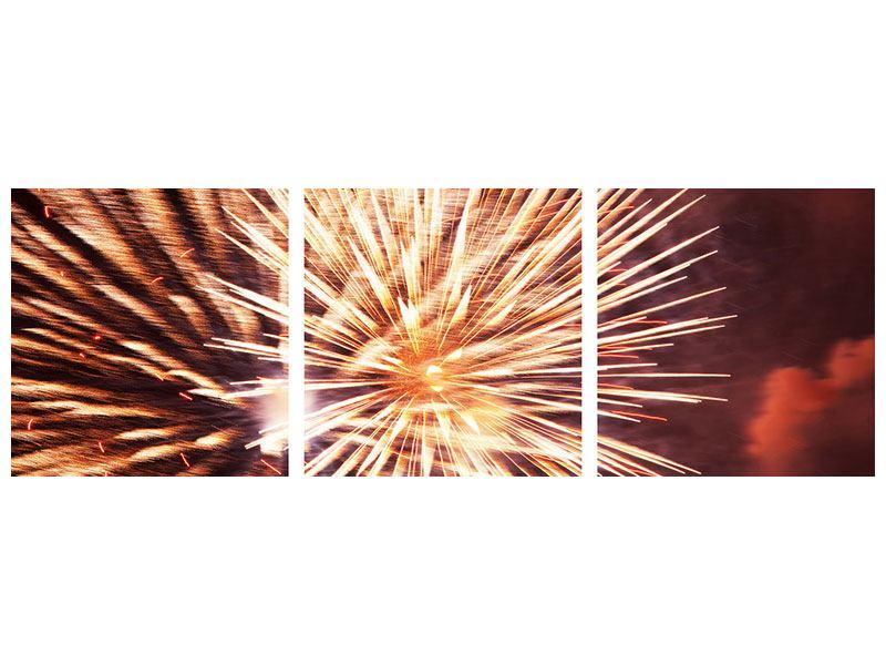 Panorama Poster 3-teilig Close Up Feuerwerk