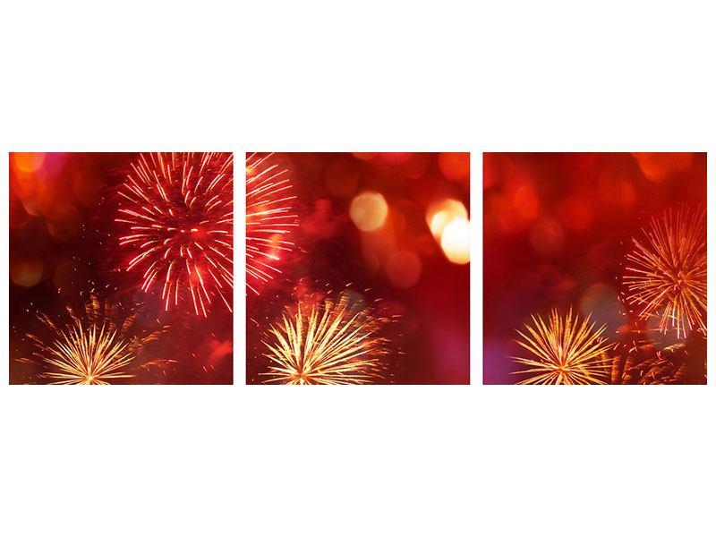 Panorama Poster 3-teilig Buntes Feuerwerk