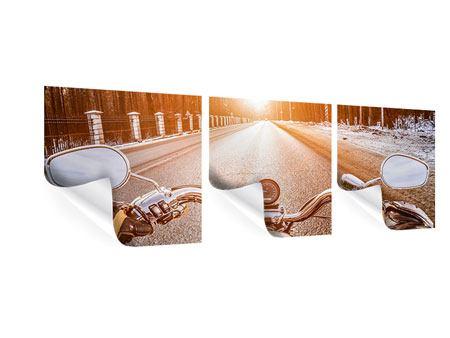 Panorama Poster 3-teilig Auf dem Motorrad