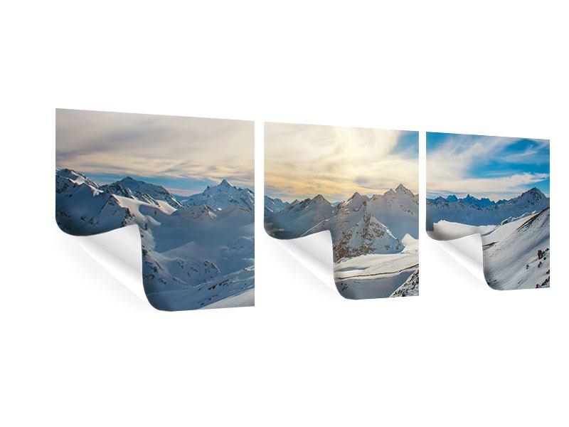 Panorama Poster 3-teilig Über den verschneiten Gipfeln