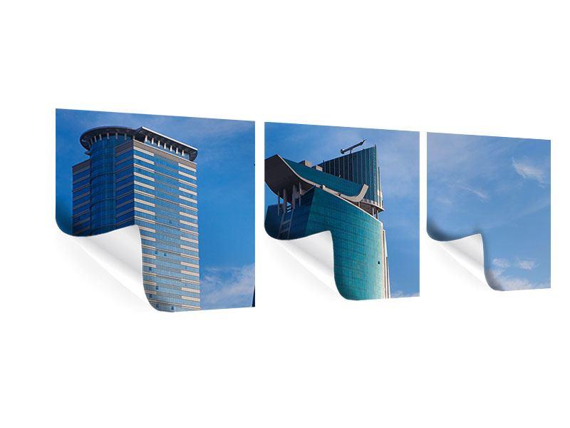 Panorama Poster 3-teilig Zwei Wolkenkratzer