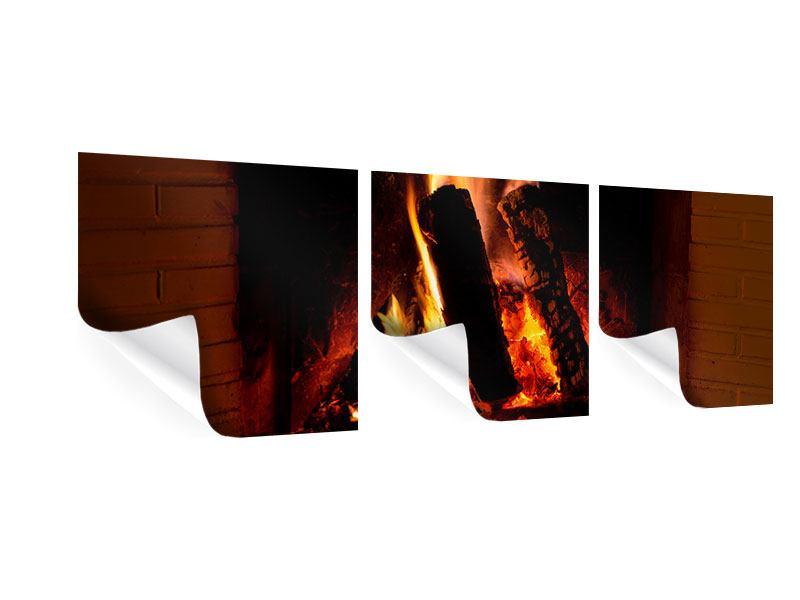Panorama Poster 3-teilig Feuer im Kamin