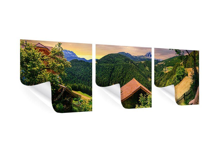 Panorama Poster 3-teilig Schweizer Berge im Sommer