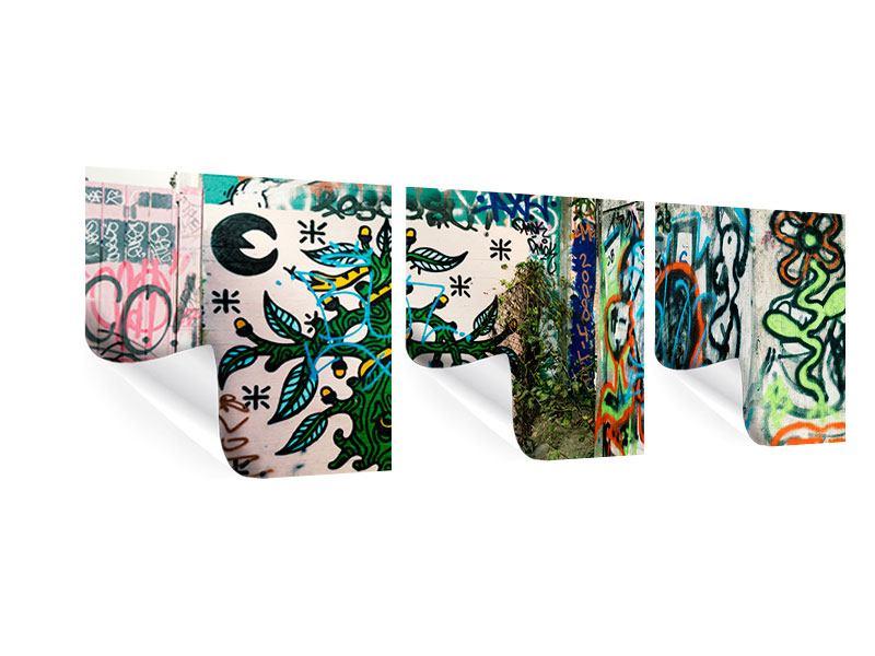 Panorama Poster 3-teilig Graffiti im Hinterhof