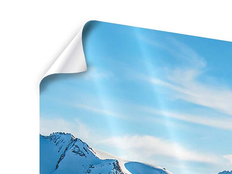 Panorama Poster 3-teilig Sonnenaufgang in den Bergen