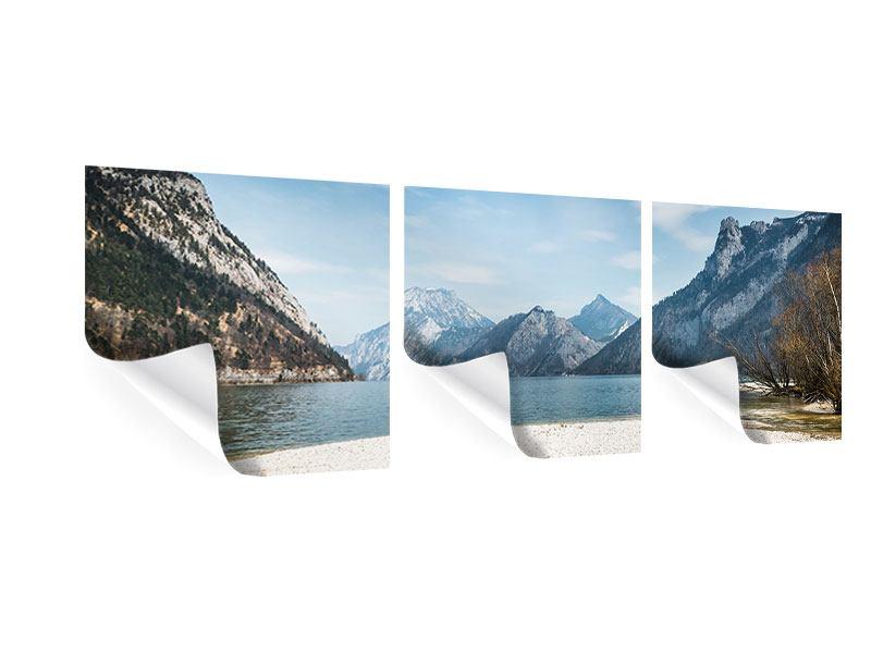 Panorama Poster 3-teilig Der idyllische Bergsee