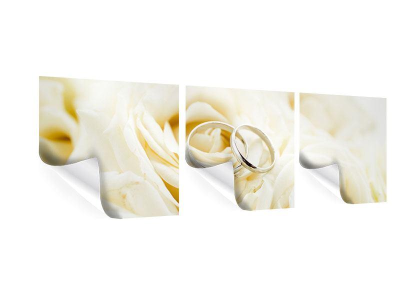 Panorama Poster 3-teilig Trauringe auf Rosen gebettet