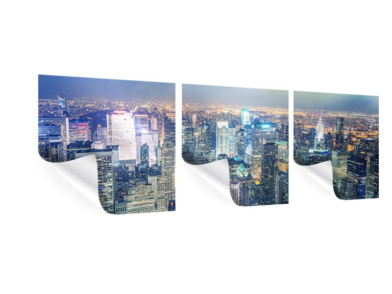 Panorama Poster 3-teilig Skyline NY bei Sonnenuntergang