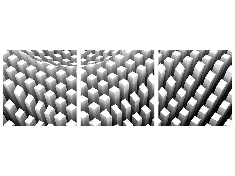 Panorama Poster 3-teilig 3D-Rasterdesign