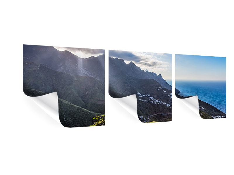 Panorama Poster 3-teilig Der Frühling in den Bergen