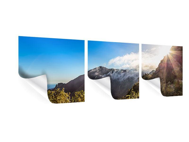Panorama Poster 3-teilig Berge am Meer