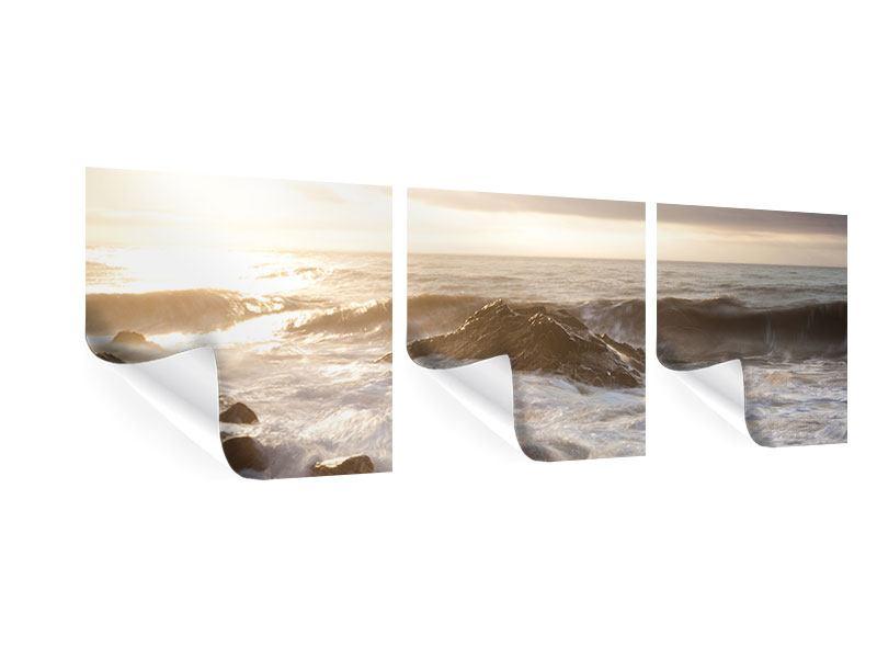 Panorama Poster 3-teilig Meeresbrandung